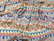 Aztec Stripe Print Polyester Crepe Dress Fabric  Multicoloured