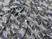 Graphic Leaf Print Polyester Crepe Dress Fabric  Grey
