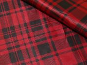Tartan Check Print Taffeta Dress Fabric  Red & Black