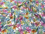 Tropical Floral Print Georgette Dress Fabric  Multicoloured