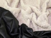 Faux Suede Backed Fur Dress Fabric  Cream & Black