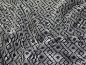 Textured Geometric Woven Suiting Dress Fabric  Black & White
