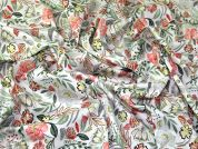 Floral Print Stretch Cotton Sateen Dress Fabric  Mint & Peach