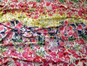 Floral Stripe Print Viscose Crepe Dress Fabric  Multicoloured