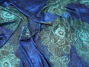 Large Floral Print Slinky Satin Dress Fabric  Blue & Turquoise