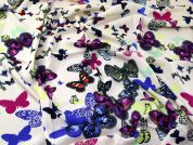 Butterfly Print Viscose Challis Dress Fabric  Multicoloured
