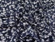 Floral Bengaline Stretch Suiting Dress Fabric  Denim Blue