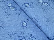 Floral Print Brushed Cotton Dress Fabric  Blue