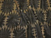 Metallic Floral Stretch Jacquard Dress Fabric  Black & Gold