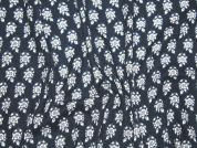 Floral Double Gauze Cotton Dress Fabric  Navy Blue