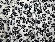 Floral Print Linen & Viscose Blend Dress Fabric  Black & Ivory