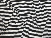 Stripe Print Stretch Jersey Knit Dress Fabric  Black & White