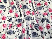 Floral Print Loop Back Sweatshirt Knit Dress Fabric  Pink & Blue
