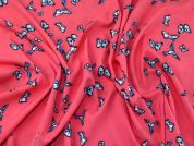 Butterfly Print Soft Lightweight Crepe Dress Fabric  Coral Pink