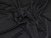 Pindot Shiny Stretch Jersey Knit Dress Fabric  Black & White