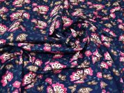 Stretch Cotton Flannel Fabric  Navy & Raspberry