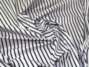 Stretch Cotton Twill Fabric  Navy & White