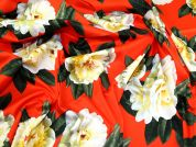 Floral Stretch Cotton Fabric  Orange