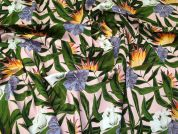 Floral Stretch Cotton Fabric  Pink & Green