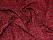Leopard Print Ponte Roma Fabric  Red & Black