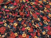 Floral Stretch Crepe Fabric  Pumpkin Multi