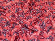 Butterfly Scuba Knit Fabric  Coral Pink