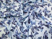 Butterfly Pure Cotton Fabric  Aqua Blue