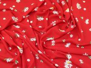 Daisy Flower Crepe Fabric  Red