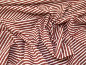 Woven Stripe Voile Fabric  Terracotta