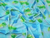 Floral Activewear Knit Fabric  Turquoise