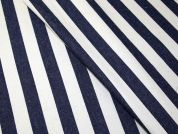French 100% Cotton Stripe Denim Dress Fabric  Blue & Ecru