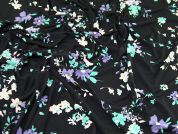 Floral Print Soft Drapey Stretch Jersey Knit Dress Fabric  Black Multi