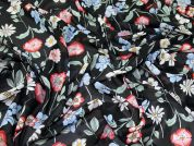 Floral Print Polyester Chiffon Dress Fabric  Multi on Black
