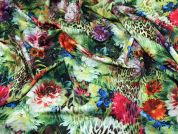 Tropical Floral Print Scuba Dress Fabric  Multicoloured