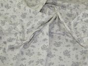 Stretch Cotton Sateen Fabric  Ivory & Grey