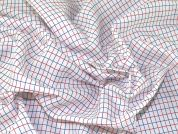 Plaid Check Print Polyester Lining Fabric  Red, White & Blue