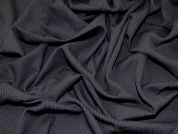 Italian Wool Blend Pinstripe Crepe Suiting Dress Fabric  Black