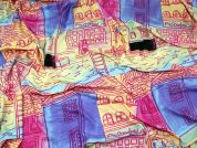 Town Landscape Print Viscose Stretch Jersey Knit Dress Fabric  Multicoloured