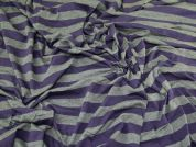 Broad Stripe Print Stretch Jersey Knit Dress Fabric  Purple & Grey