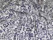 Digital Clock Print Cotton Poplin Dress Fabric  Ivory & Navy Blue
