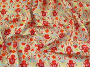 Funky Print Cotton Poplin Dress Fabric  Orange on Beige