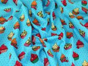 Cupcakes Print Cotton Poplin Dress Fabric  Turquoise