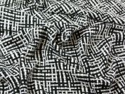 Loose Woven Monochrome Check Coat Weight Dress Fabric  Black & White