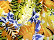 Floral & Leaf Print Polyester Crepe Dress Fabric  Multicoloured