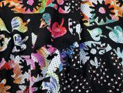 Embroidered Applique Chiffon Dress Fabric  Multi on Black