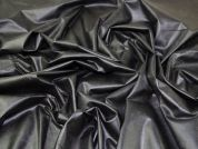 Faux Leather Jersey Knit Fabric  Black