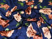 Floral Velvet Knit Fabric  Deep Blue
