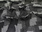 Viscose Twill Fabric  Black & Ivory