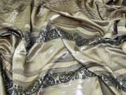 Woven Stripe Brocade Satin Dress Fabric  Gold