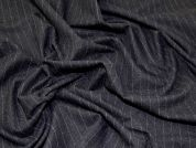 Portuguese Pinstripe Stretch Suiting Dress Fabric  Charcoal Grey